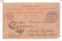 Entier Postal Suisse Union Postale Universelle Geneve Postal Marking G 1893 - Entiers Postaux