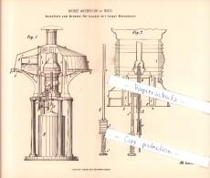Original Patent - Moriz Arzberger In Wien , 1884 , Oelzufluß Zum Brenner Für Lampen Mit Langer Brenndauer !!! - Luminaires