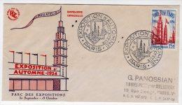 FDC - 1954 - FOIRE DE PARIS  (GF) - 1950-1959