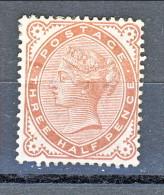 UK 1880-81 Victoria - N. 69 - 3 Mezzi Penny Bruno Rosso MH. Molto Fresco, Impeccabile - Unused Stamps