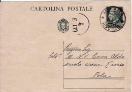 CARTOLINA POSTALE DA 15 CENT. DEL 1941 DA MELARA ROVIGO A POLA ISTRIA - TIMBRO DELLA MARINA - - Storia Postale