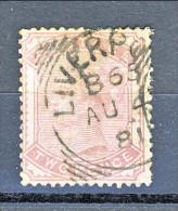 UK 1880-81 Victoria - N. 70 - 2 Penny Rosa Carminio Usato / Annullo Tondo A Data Liverpool - Used Stamps