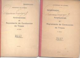 ACLARACIONES AL REGLAMENTO DE CONDUCCION DE TROPAS I Y II PARTE AÑOS 1940 Y 1941 42 Y 16 PAGINAS - War 1914-18