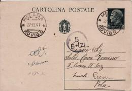 CARTOLINA POSTALE DA 15 CENT. DEL 1941 DA MELARA ROVIGO A POLA ISTRIA - TIMBRO DELLA MARINA - - Pubblicitari