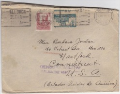 España 1936. Carta De Palma De Mallorca A Connecticut. Variedad Local. Censura. - Marcas De Censura Nacional