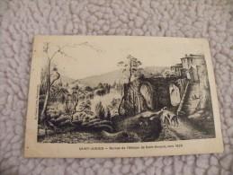 A239.  CPA.  87. SAINT-JUNIEN. Ruines de l'Abbaye de Saint-Amand vers 1825.     beau plan anim�.  non �crite