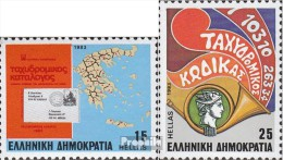 Griechenland 1511-1512 (kompl.Ausg.) Postfrisch 1983 Postleitzahlen - Nuevos