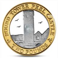 ISLE OF MAN 2 POUNDS BIMETAL BIMETALL BI-METALLIC ROUND TOWER PEEL CASTLE 2013 UNC - Monnaies Régionales
