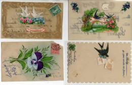 4 Cartes Celluloïde Peinte Main Et Ajouti - Postcards