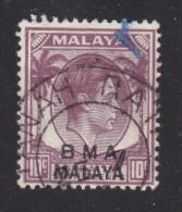 BMA Malaya 10 Cents Purple, Used  TANA RAIL C.d.s. - Malaya (British Military Administration)