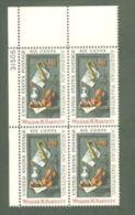 Plate Block -1969 USA William M. Harnett Stamp #1386 Painting Violin Trumpet Music Famous Porcelain - Porcelain