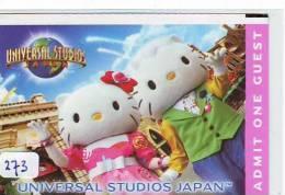TICKET PASSPORT DISNEY Japon (273) HELLO KITTY  * JAPAN * PASS * UNIVERSAL STUDIOS *  CINEMA * FILM * MOVIE * KINO - Disney