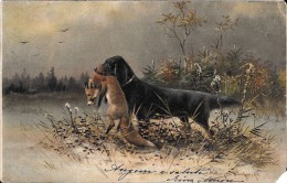 [DC5187] CARTOLINA - ANIMALI - SCENA DI CACCIA - CANE CON IN BOCCA LA VOLPE - Viaggiata - Old Postcard - Chiens