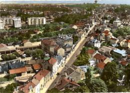 CPSM (Réf :H710) EN AVION AU-DESSUS DE .SAINT-MICHEL-sur-ORGE (ESSONNE 91) La Rue De Monltéry Animée, Voitures Anciennes - Saint Michel Sur Orge