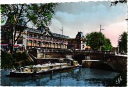 """TOULOUSE ,CANAL DU MIDI ET GARE MATABIAU,PENICHE """"PROVENCE"""" BEAU PLAN ,COULEUR REF 41612 - Houseboats"""
