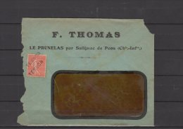 17 - Le Prunelas Par Salignac De Pons - F. Thomas - Oblitération Tesson ... - 1924 - Postmark Collection (Covers)