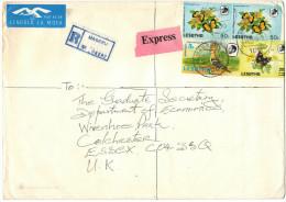 Lesotho - 1988 - Registered Airmail - Butterflies + Upupa - Viaggiata Da Maseru Per Colchester, England - Lesotho (1966-...)
