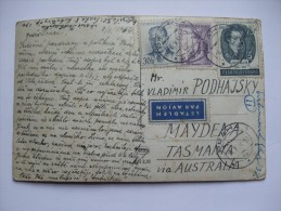CZECHOSLOVAKIA 1954 POSTCARD AIR MAIL PRAHA TO AUSTRALIA - Cartas