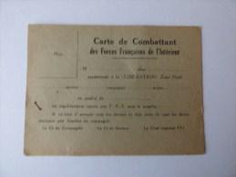 Carte De Combattant Des Forces Françaises De L'Intérieur - Documents
