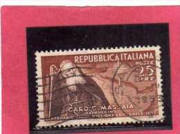 ITALIA REPUBBLICA ITALY REPUBLIC 1952 CENTENARIO PRIMA MISSIONE IN ETIOPIA CARDINALE MASSAIA USATO - USED - OBLITERE´ - 6. 1946-.. República