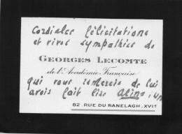 Georges Lecomte.Carton Autographe  .envoi à Claude Gével. - Autographes