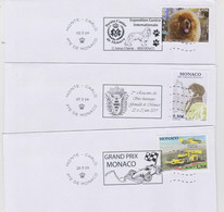 Monaco Postmark 2019 Grand Prix - Grimaldi Historic Sites - International Canine Exhibition - Marcofilie