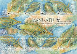 van1302s Vanuatu 2013 WWF Orange Spotted Filefish s/s
