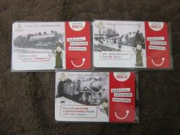 Thailand Prepaid Phonecard, Train, Set Of Three, Used - Thailand