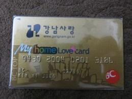 Korea BC Bank Card,Backside With Logo Of Korean Air Airlines - Vliegtuigen