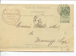 Entier CP 5c Armoiries C.Bruxelles Est En 1903 C.publicitaire Société Le Cheval De Trait Belge R.Royalz 20 BXL PR1607 - Chevaux