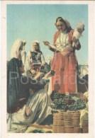 Pazar Ne Milot - Market In Milot - Grapes - Women - Old Postcard - Albania - Unused - Albanie