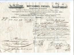FCT6 Rhone Lyon Lettre De Voiture 1849 Bonnardel Frères Propriétaires Service Bateaux - Francia