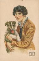 FEMMES - FRAU - LADY - DOG - Jolie Carte Fantaisie Italienne Portrait Femme Et Chien Signée RAPPINI - Chiens