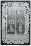 CANIVET DENTELLE Vers 1860 : SAINT COEUR DE JESUS SAINT COEUR DE MARIE / HOLY CARD / ANDACHTSBILD /SANTINI - Images Religieuses