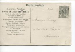 TP Armoiries 1c Roulette Liège 1907 S/CP Hôtel Château Des Cheras V.Verviers PR1608 - Prematasellados