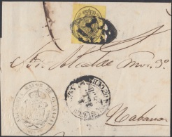 1858-H-79 CUBA ESPAÑA SPAIN. ANTILLAS. ISABEL II. 1858. Ed.6. ½ Oz. CARTA CORREO OFICIAL. MARCA BAEZA GUANAJAY ST - Cuba