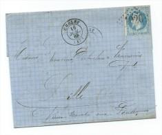 29A Sur Lettre De Cholet à Lille 1868 Cachet Ambulant Paris à Arras - Storia Postale