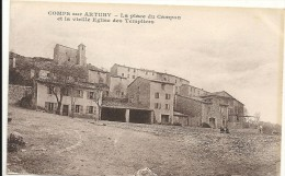 Var : Comps Sur Artuby, La Place Du Campon Et La Vieille Eglise Des Templiers - Comps-sur-Artuby