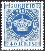 ÍNDIA - 1877 - Tipo Coroa.   40 R.  (Azul Escuro)  Pap. Fino,  D. 13 1/2   (*) MNG  Afinsa  Nº 52 - Portuguese India