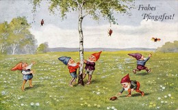 GNOME / ELF / LUTIN Et COLÉOPTÈRE - ELF And BEETLE : FROHES PFINGSTFEST - CARTE POSTALE VOYAGÉE ~ 1930 - 1935 (r-327) - Holidays & Celebrations