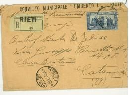 ITALIA REGNO - STORIA POSTALE - ANNO 1927  - RACCOMANDATA DA RIETI PER CATANIA  - DENT 11  - SAN FRANCESCO LIRE 1.25 - 1900-44 Vittorio Emanuele III