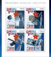 gb14819a Guinea Bissau 2014 Soviet space s/s Stamp on Stamp Dog