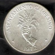 MONEDA DE PLATA DE PANAMA DE 5 BALBOAS DEL AÑO 1972 DEL ASENTAMIENTO CAMPESINO  (COIN) SILVER,ARGENT. - Panamá
