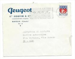 ENVELOPPE Publicitaire De 1966... Concessionnaire PEUGEOT, Ets FORTIN Et Cie à BAYEUX ( 14) - France