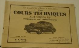 CARNET PUB POUR RECEVOIR DES COURS TECHNIQUES AUTOMOBILE S AUTO VOITURE GARAGE REPARATION S SAINT QUENTIN 02 AISNE - Vieux Papiers