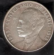 MONEDA DE PLATA DE CUBA DE 1 PESO DEL AÑO 1953 DEL CENTENARIO DE MARTI (COIN) SILVER-ARGENT - Cuba