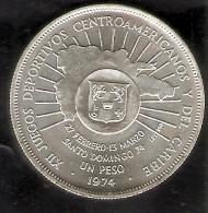 MONEDA DE PLATA DE LA REP. DOMINICANA DE 1 PESO DEL AÑO 1974 DE LOS XII JUEGOS CENTROAMERICANOS (COIN) SILVER-ARGENT. - Dominicaine
