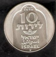 MONEDA DE PLATA DE ISRAEL DE 10 LIROT DEL AÑO 1974 (COIN) SILVER-ARGENT - Israel