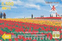 Carte Prépayée Japon - MOULIN & Fleur Fleurs Tulipes - MILL & Flower Japan Prepaid Card - MÜHLE Karte - MOLEN - Hiro 120 - Landscapes