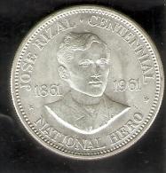 MONEDA DE PLATA DE FILIPINAS DE 1 PISO DEL AÑO 1961 DE JOSE RIZAL (COIN) SILVER-ARGENT - Filipinas